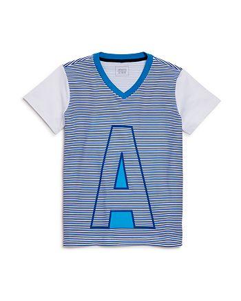 Armani - Boys' Striped Logo V-Neck Tee - Little Kid, Big Kid
