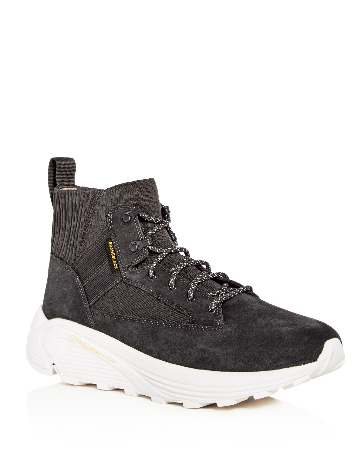 BRANDBLACK Men's Mil Spec Hiker Suede & Knit High Top Sneakers