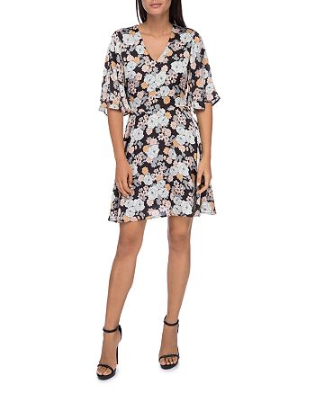 B Collection by Bobeau - Florice Floral Flare-Sleeve Dress