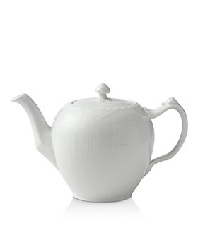 Royal Copenhagen - White Fluted Half Lace Tea Pot