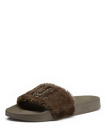 newest 14ecd cd84a FENTY Puma x Rihanna Women's Faux-Fur Pool Slide Sandals ...