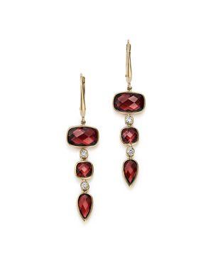 OLIVIA B 14K YELLOW GOLD TIERED GARNET & DIAMOND DROP EARRINGS - 100% EXCLUSIVE