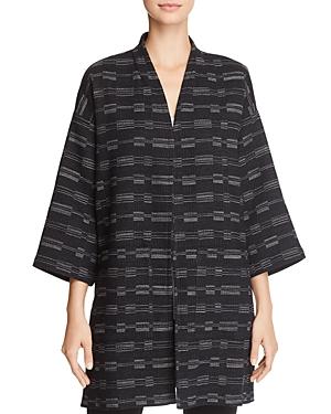 Eileen Fisher Textured Line-Print Kimono Jacket