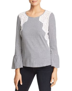 DANIEL RAINN STRIPED LACE-TRIM TOP