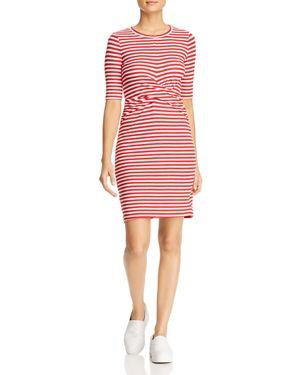 Three Dots Nantucket Stripe Twist-Front Dress