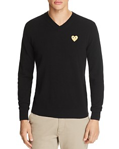 Comme Des Garcons PLAY Gold Heart V-Neck Sweater - Bloomingdale's_0