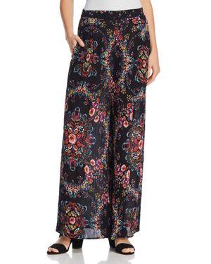 Aqua Floral Print Wide-Leg Pants - 100% Exclusive