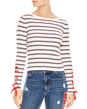 Sandro  OTTANA RIBBED STRIPED EYELET SWEATER