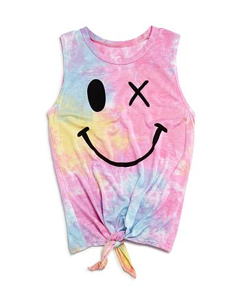Flowers by Zoe - Girls' Tie-Dye Knot-Front Wink Tank - Big Kid