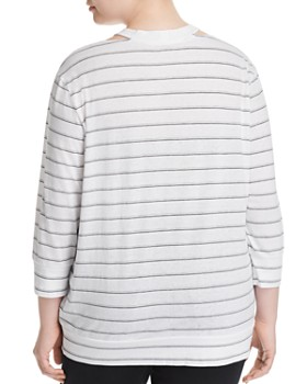 Marc New York Plus - Striped Cutout Top