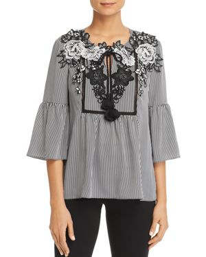 Le Gali Bryanna Floral Lace Stripe Peasant Blouse - 100% Exclusive
