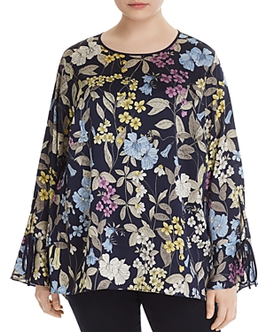 Vince Camuto Plus Floral Print Flare Sleeve Blouse