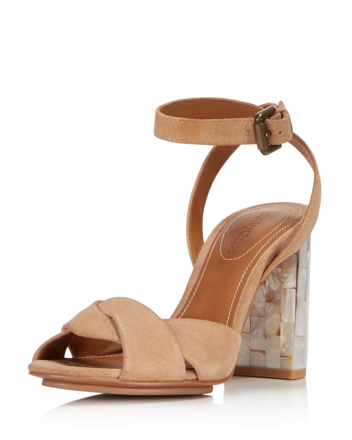 Chloé Women's Isida Suede & Mother-of-Pearl Block Heel Sandals