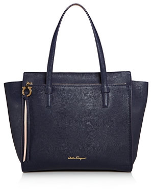 Salvatore Ferragamo Grand Prix Bicolor Leather Tote In Mirto Blue Bonbon  Pink Gold 5b4bf315123