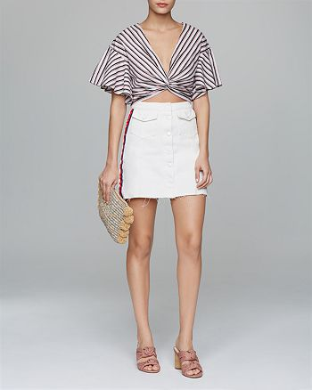 Lucy Paris - Twist-Front Cropped Top, Sunset + Spring Denim Skirt - 100% Exclusives & More