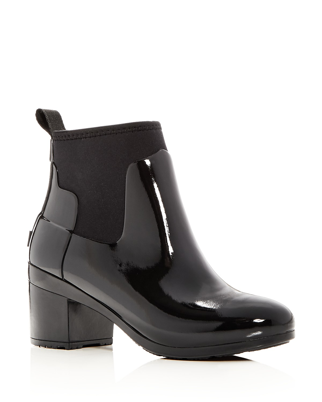 Hunter Women's Refined Gloss Mid Block Heel Rain Booties phoqHQvs