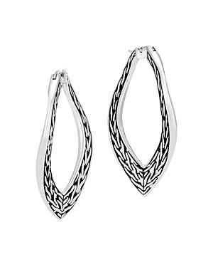 John Hardy Sterling Silver Classic Chain Wave Hoop Earrings
