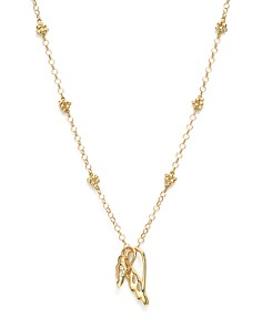 """Temple St. Clair - 18K Yellow Gold Double Wing Diamond Charm Necklace, 18"""" - 100% Exclusive"""