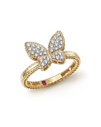 18 K Yellow Gold Tiny Treasures Diamond Butterfly Ring by Roberto Coin