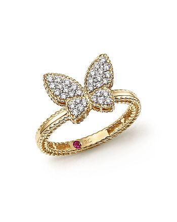 Roberto Coin - 18K Yellow Gold Tiny Treasures Diamond Butterfly Ring