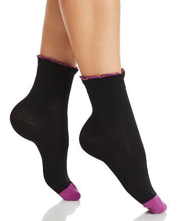 HUE - Ruffle Cuff Shortie Socks