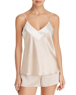 GINIA - Two-Tone Silk Cami & Boxer Shorts