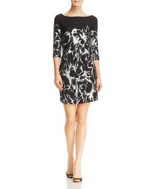 Leota Nouveau Crinkled Floral Print Dress