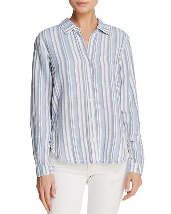 Bella Dahl - Fringed Striped Button-Down Shirt