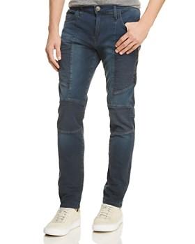 True Religion - Rocco Moto Slim Fit Jeans in Dark Navy