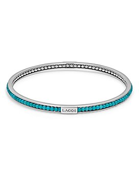 LAGOS - Sterling Silver Caviar Icon Turquoise Beaded Bangle Bracelet