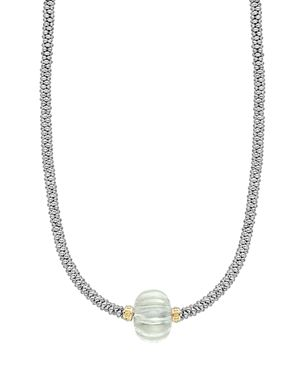 Lagos 18K Gold & Sterling Silver Caviar Forever Green Amethyst Melon Bead Rope Necklace, 16