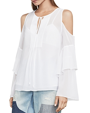Bcbgmaxazria Jalena Bell Sleeve Cold-Shoulder Top