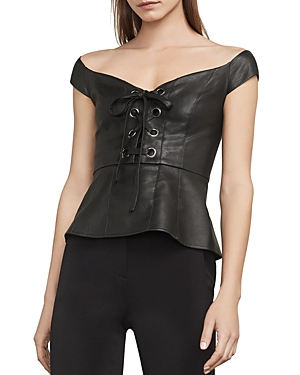 Bcbgmaxazria Hadli Lace-Up Faux Leather Bustier Top