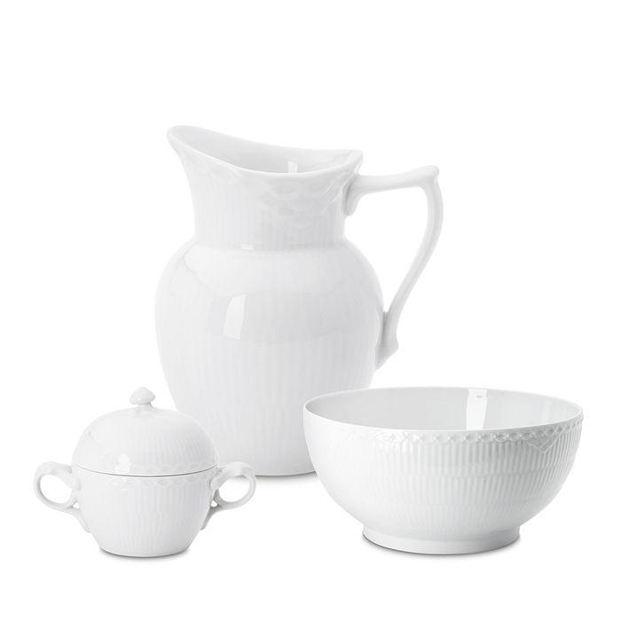 Royal Copenhagen - White Fluted Half Lace Serveware