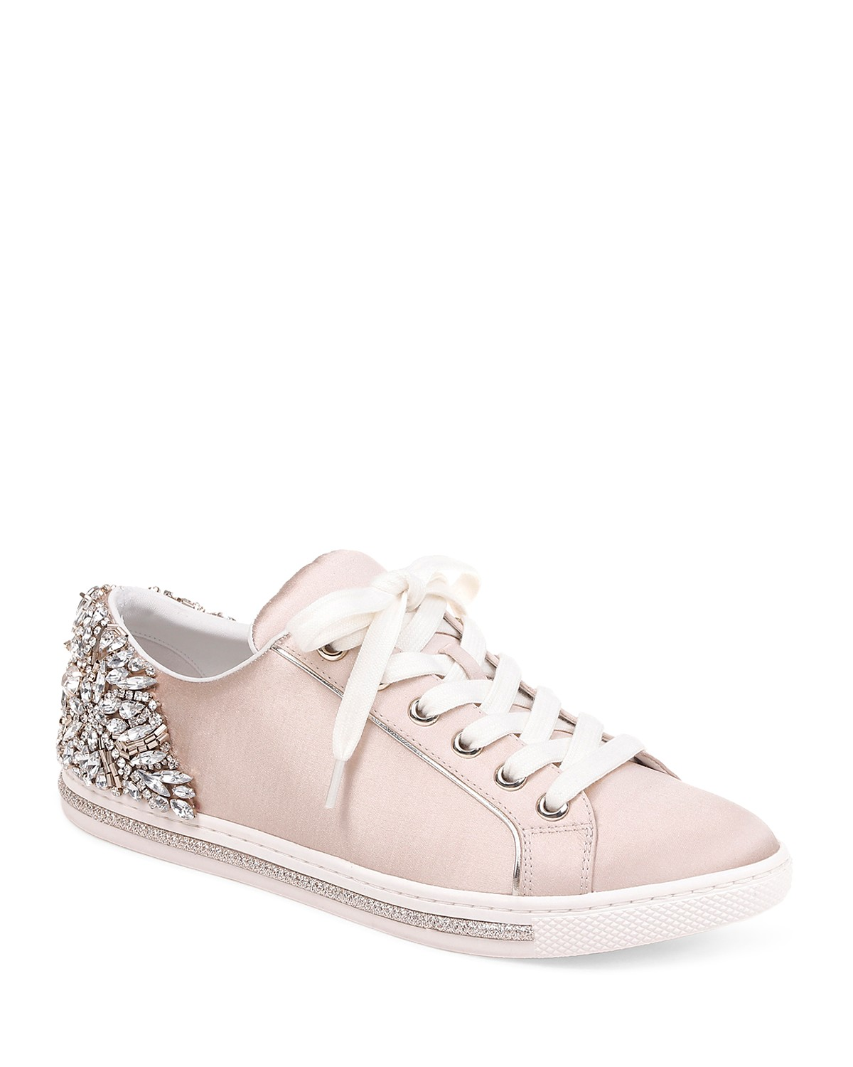 Badgley Mischka Women's Shirley Embellished Satin Low Top Lace Up Sneakers NjTrQak