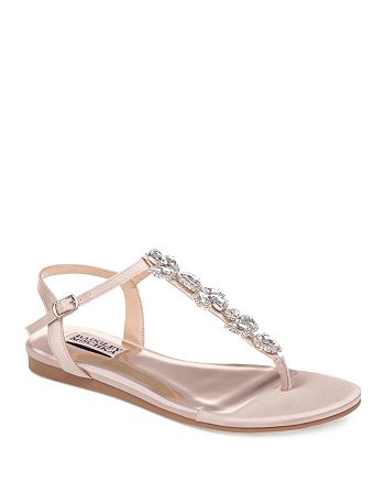 Badgley Mischka - Women's Sissi Embellished Satin T-Strap Sandals
