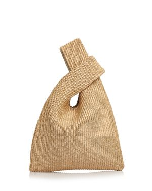 ARRON Raffia And Leather Crossover Bag in Raffia Tan/Gold