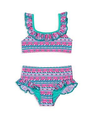 Hula Star Girls' Printed High-Waisted 2-Piece Swimsuit - Little Kid