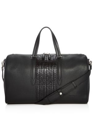 Salvatore Ferragamo Firenze Pebbled and Woven Leather Duffel Bag