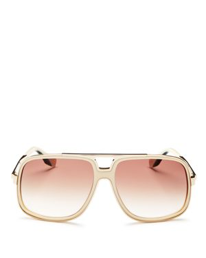 60MM GRADIENT LENS AVIATOR SUNGLASSES - IVORY