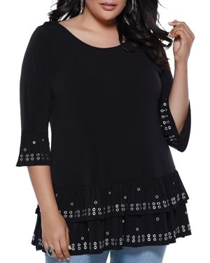 BELLDINI PLUS SIZE GROMMET-TRIMMED RUFFLED TUNIC TOP