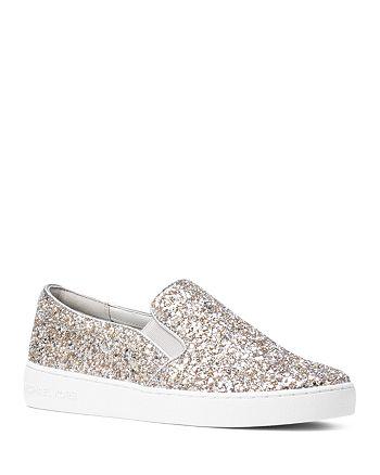 MICHAEL Michael Kors Women's Keaton Glitter Slip On Sneakers