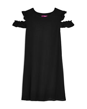 AQUA - Girls' Textured Cold-Shoulder Chiffon Shift Dress, Big Kid - 100% Exclusive