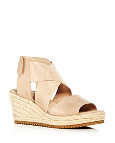 Eileen Fisher - Women's Willow Nubuck Leather Platform Espadrille Sandals