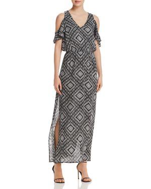 Aqua Mosaic Print Cold-Shoulder Maxi Dress - 100% Exclusive