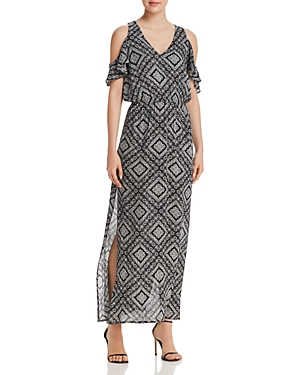Aqua Mosaic Print Cold-Shoulder Maxi Dress - 100% Exclusive