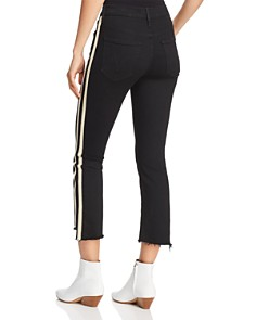 MOTHER - Insider Striped Crop Step-Hem Fray Jeans in Guilty Racer