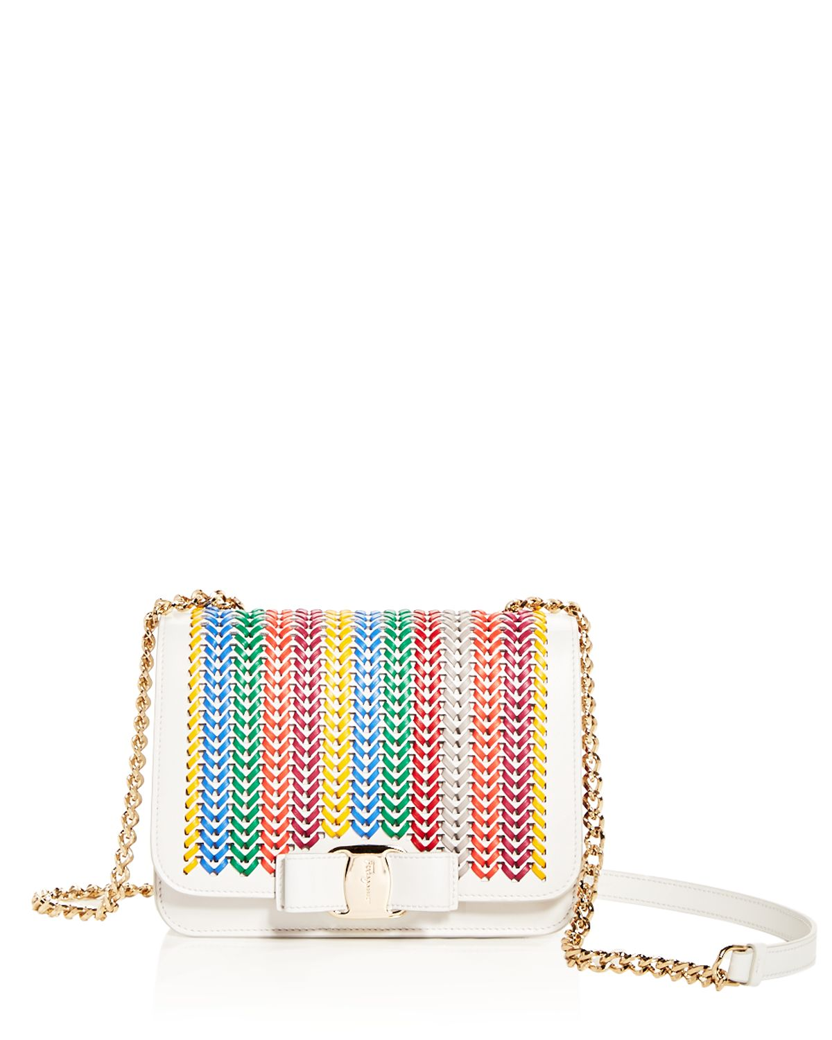 Vara Woven Rainbow Leather Shoulder Bag by Salvatore Ferragamo