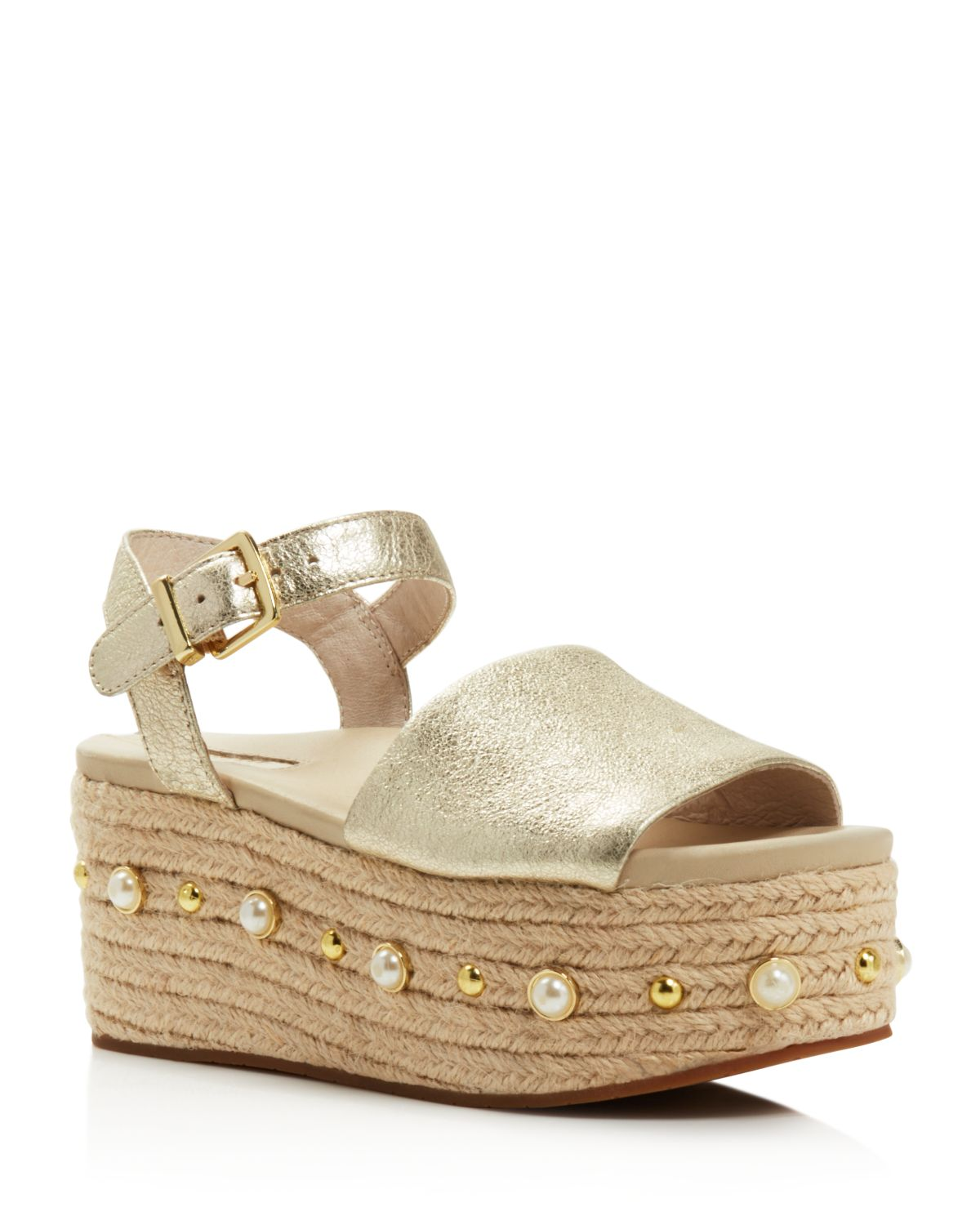 Kenneth Cole Women's Indra Leather Embellished Espadrille Platform Wedge Sandals