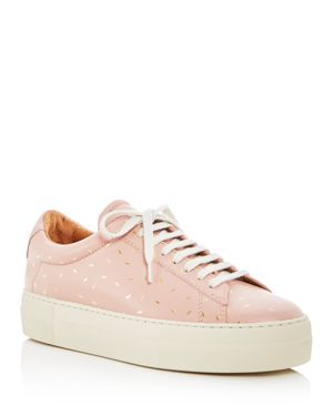 ZESPÀ Women'S Dessus Supakitch Leather Lace Up Platform Sneakers in Off White / Nude